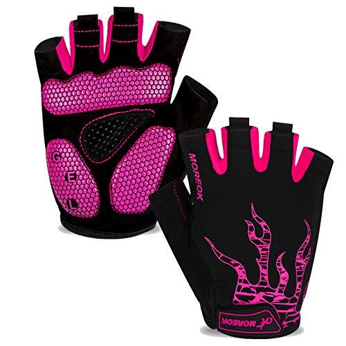 Fahrradhandschuhe Herren Damen Halbfinger Atmungsaktiv Radsporthandschuhe,5MM SBR Gel Stoßdämpfende Rutschfestes Radhandschuhe Mountainbike Handschuhe Outdoor MTB Handschuhe-Rosa-M