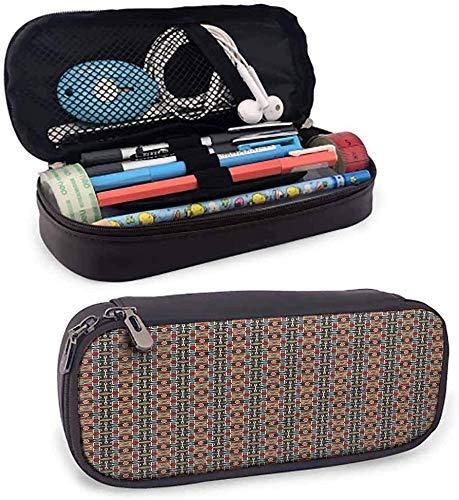 Zierfliesen Muster Leder Federmäppchen Reißverschluss Schreibwaren Beutel Tasche Etui Make-up Kosmetiktasche