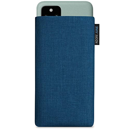 Adore June Classic Ozean-Blau Tasche kompatibel mit Google Pixel 5 Handytasche aus beständigem Cordura Stoff mit Bildschirm Reinigungs-Effekt, Made in Europe