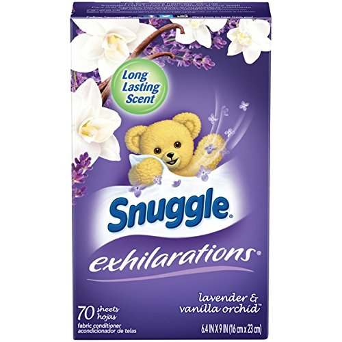 Snuggle Exhilarations Fabric Softener Dryer Sheets, Lavender and Vanilla Orchid, 70 Count (Pack Of 3)