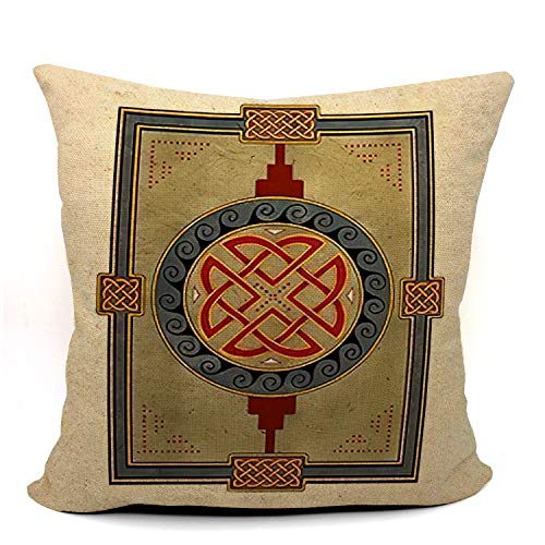 Mancheng-zi Celtic Knot Throw Pillow Case, Kells Celtic Decor, Celtic Gift, Wedding Gift, Housewarming Gift, Celtic Art, 18 x 18 Inch Linen Kells Celtic Art Cushion Cover for Sofa Couch Bed 01