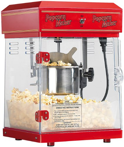 "Rosenstein & Söhne Popcornmaschine: Profi-Retro-Popcorn-Maschine\""Cinema\"" mit Edelstahl-Topf im 50er-Stil (Popcornmaschine Profi)"