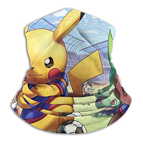 asdew987 Detective Pikachu Película Pikachu y amigos Fútbol Mascota Cartel Polaina Cuello Máscara Cara Bandana Sin Costuras Diadema Para Hombres Mujeres Sol Protección UV Viento Polvo Esquí Equitación
