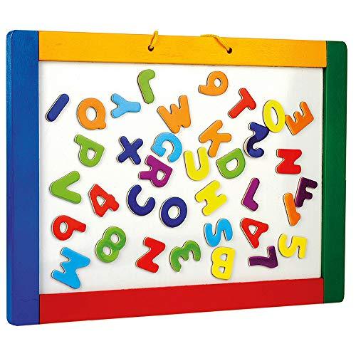 Bino & Mertens 83651 magnetische Hängetafel mit bunten Buchstaben, Spielzeug für Kinder ab 3 Jahre, Kinderspielzeug (Magnettafel zum Beschriften, Schieferseite, Hängeschlaufe & magnetische Buchstaben), Mehrfarbig