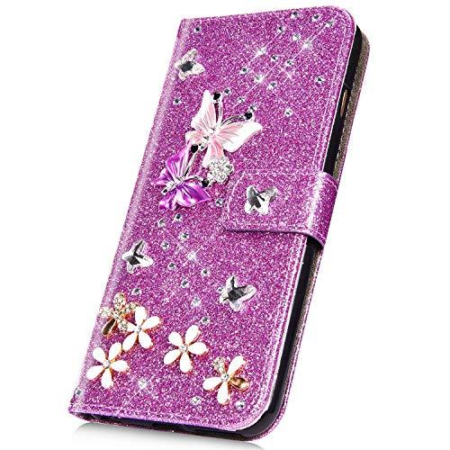 Surakey PU Leder Hülle für Samsung Galaxy S8 Plus Handyhülle Handytasche Glänzend Bling Glitzer Diamant PU Tasche Schutzhülle Flip Case Brieftasche Etui Wallet Case Ständer Kartenfächer, Lila