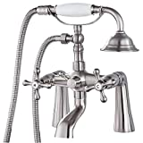 Deck Mount Tub Bathtub Faucet Clawfoot with Handheld Shower 6 Inch Brushed Nickel Telephone Shaped Sprayer Showerheld Double Cross Handle