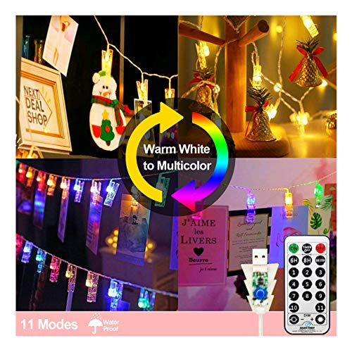 KNONEW Photo Clip String Light 11 Lighting Modes 14ft 30 LED, USB Powered Fairy String Light with Remote and Clips Light for Christmas, Birthday, Wedding, Party, Holiday Warm White to Multicolor