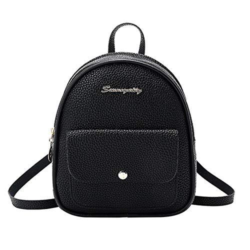 1Pcs Mini Backpack Women PU Leather Shoulder Bag for Teenage Girls Kids Fashion Small Bagpack Female Ladies School Backpack,Black