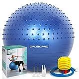 Palla da ginnastica,GYMBOPRO Palla Fitness con pompa rapida, antiscivolo Yoga Palla per fitness palestra yoga pilates (Blu 2, 65 cm)