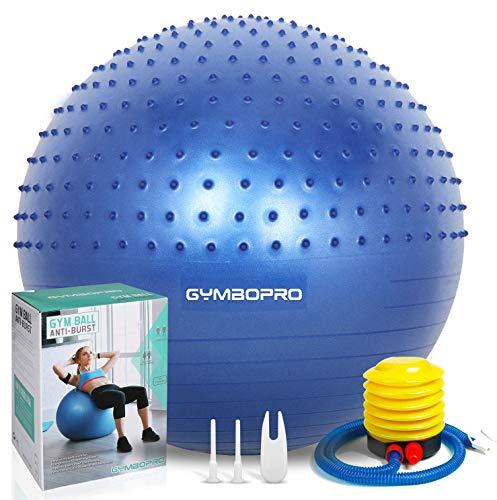 GYMBOPRO Fitness Pelota de Ejercicio - Bola Suiza con Bomba de Inflado,Bola de Yoga antirrebote y Antideslizante,Bola de Equilibrio para Gimnasio Pilates Gimnasio de Yoga (Style 1, Blue)