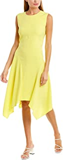 Women's Sleeveless Satin Back Texture Asymmetrical Hem Dress