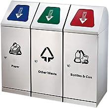 Trash can Stainless Steel Outdoor Trash Bin with Inner Barrelfor Patio Garden Disposal Recycling Bin Trash Can Classificat...