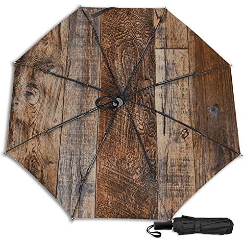 Brown Wood Mescchsk防風二重層通気性トラベル傘、防水コーティング生地、持ち運びと旅行が簡単。