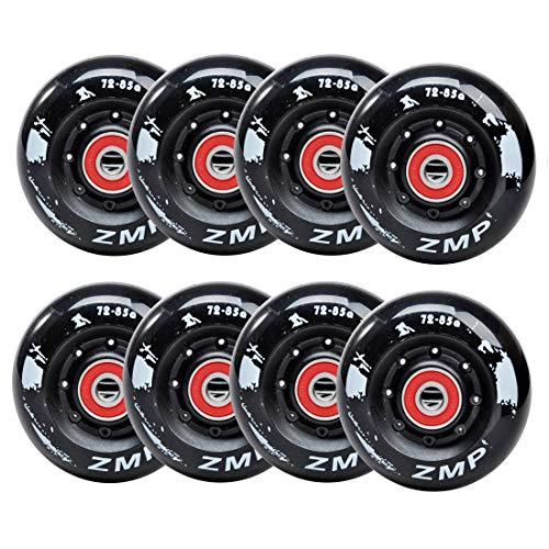 SSCYHT 8er Pack Inline Skate Wheels 85A für Asphalt Inline Skating oder Outdoor/Indoor Roller Hockey, Ersatz Skate Wheels, mit Lagern für Mädchen & Jungen,Schwarz,76mm