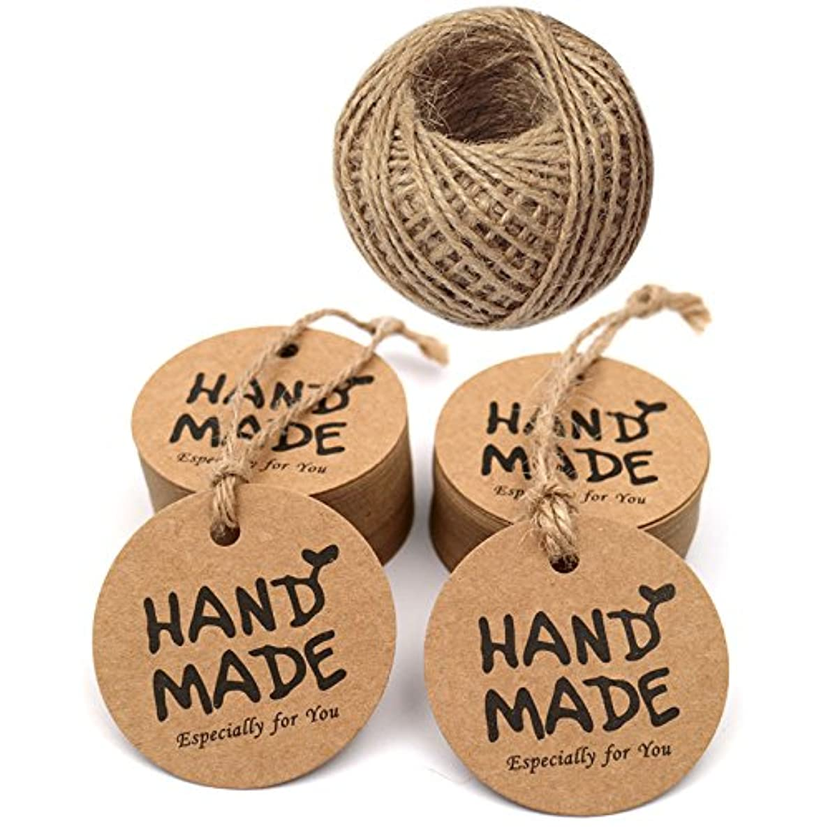 Handmade Tags,Gift Wrap Tags,100 Pcs Hand Made Especially for You Kraft Paper Round Gift Tags with 100 Feet Jute Twine (Brown)