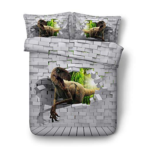 CHAOSE Juego de Sábanas HD Serie de Dinosaurios 3D Funda Nórdica de Algodón y poliéster 3 Piezas (1 Funda Nórdica + 2 Funda de Almohada) (Dinosaurio rapido, (200x220 cm+2/70x50cm) - Cama de 10