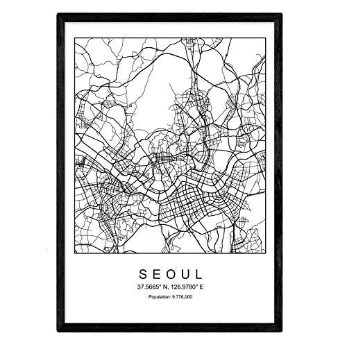Nacnic Druck Seoul Stadtplan nordischer Stil schwarz und weiß. A3 Größe Plakat Das Bedruckte Papier Keine 250 gr. Gemälde, Drucke und Poster für Wohnzimmer und Schlafzimmer