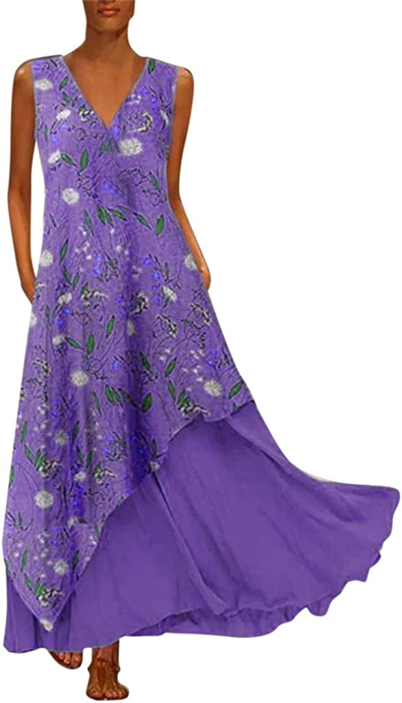 VOWUA Discount is also underway Dress For Womens Boho Maxi Linen Print Long Loose San Antonio Mall
