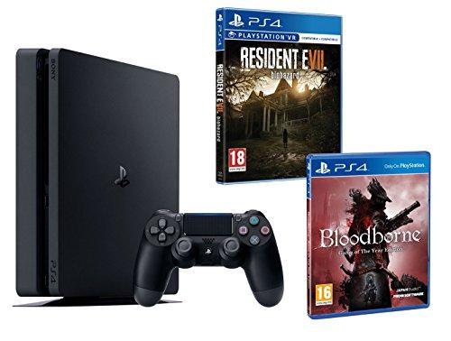 PS4 Slim 1To Noir Playstation 4 PACK 2 jeux - Bloodborne GOTY + Resident Evil VII