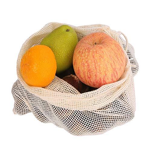 Herbruikbare Productie Mesh Bag Organisch Milieuvriendelijk Wasbaar Trekkoord Opbergtas Geschikt voor Voedsel, Plantaardige en Verse Producten Opslag (10 stuks) 3s+1m+6l