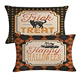 2Pack Halloween Decor Pillow Covers Black Cat /Pumpkin Pattern Pillow Case with Happy Halloween/Trick or Treat Quote Decorative Rectangular/Waist Pillow Cushion Cover 12 x 20 Inches