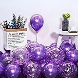 50 globos metálicos, globos de helio en lila y confeti metálico, globos de helio, globos metálicos para decoración de cumpleaños, decoración de boda, decoración vintage