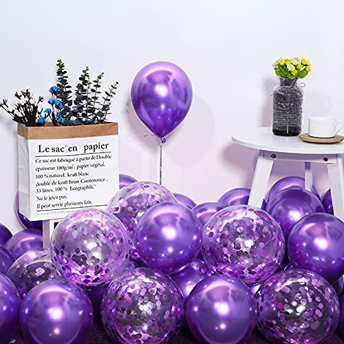 50 globos metálicos, globos de helio en lila y confeti metálico, globos...