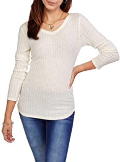 No Boundaries Women Solid Brushed Knit Top Size XXL Long Sleeves V-Neck