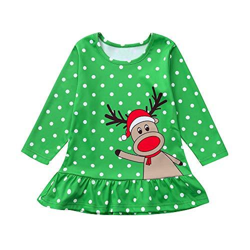 Allence Kleinkind Baby Kinder Mädchen Rüschen Brief Cartoon Hirsch Muster Tops Langarm T-Shirt Weihnachten Halloween Kleidung
