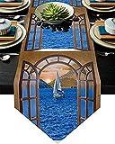 Runner da tavolo, runner da tavolino in juta antiscivolo per feste, cene, vacanze, cucina, decorazioni per la tavola di tutti i giorni, finestra, mare, montagna, paesaggio di barche a vela, 18'x72'