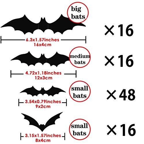 JIASHA Decorazione di Halloween Nero 3D Pipistrelli Adesivi Puntelli, Pipistrelli Spaventosi Adesivo da Parete Adesivo da Parete Forniture per Feste di Halloween per la Decorazione