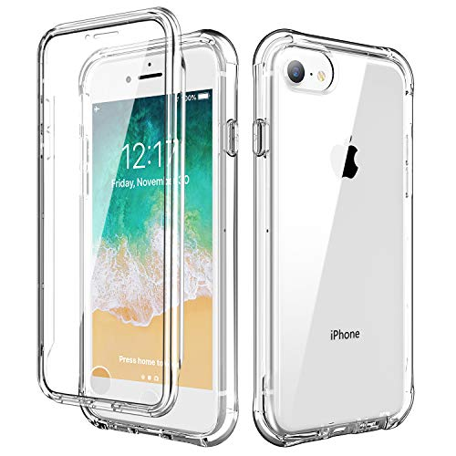 SKYLMW iPhone SE 2020 case,iPhone 7 Case,iPhone 8 Cover,Built-in Screen Protector Shockproof Dual Layer Protective Hard Plastic & Soft TPU Phone Cases for iPhone SE 4.7 inch, Clear