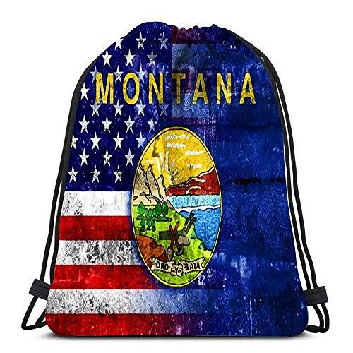 GeorgoaKunk Sac à Dos Sac à Cordon USA et Montana State Flag Painted on Grunge Wall Femmes et Hommes Sport Gym Sack
