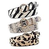 OuLi Store 3PCS Cinturón Delgado con Patrón de Serpiente para Mujer con Hebilla para Jeans Vestido Cinturón de Mujer pequeño Cinturón de cuero fino 105CM