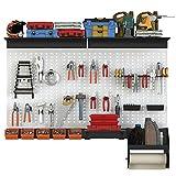 TORACK Pegboard Wall Organizer, 48x40 inch Garage Metal Pegboard Organizer Utility Tool Storage Kit with Toolboard Hooks Accessories, Wall Mounted Storage Bins, Paper Towel Holder, Heavy Duty Overhead Shelf