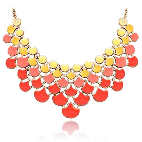 JANE STONE 2018 Fashion Bib Collar Necklace Multicolor Enamel Openwork Statement Jewelry for Women