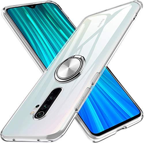 kadixini Kompatibel mit Handyhülle Xiaomi Redmi Note 8 Pro Hülle Soft Silikon Hülle Ultra Dünn TPU Bumper Case 360 Grad Ring Stand Magnetische Autohalterung Schutzhülle für Transparent