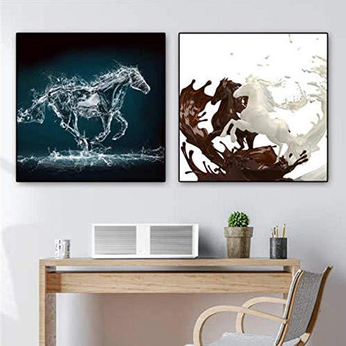 Terilizi paard poster mandala papier druk poster stof muurkunst voor woonkamer decoratie 50 x 50 cm x 2 geen lijst