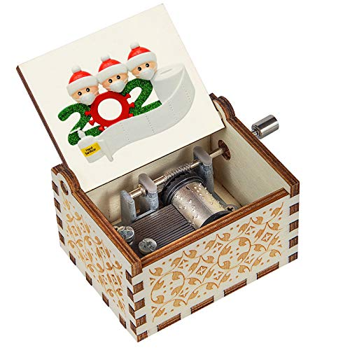 Christmas Cute Mini Hand Crank Wood Family Music Box Play Merry Christmas Tune Laser Engraved Wooden Music Boxes for Kids/Wife/Son/Daughter/Dad/Mom/Girlfriend on Xmas