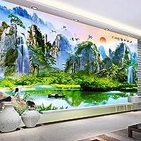 3D壁紙中国風自然風景湖の風景写真壁壁画リビングルーム研究防水3Dステッカー, 150cm×105cm