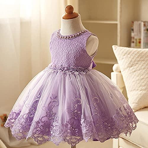 SUNXC Mujer Vestido Halloween Princesa, Vestido de Princesa de Boda para niños-Purple_140cm,Disfraces De Niñas Vestido