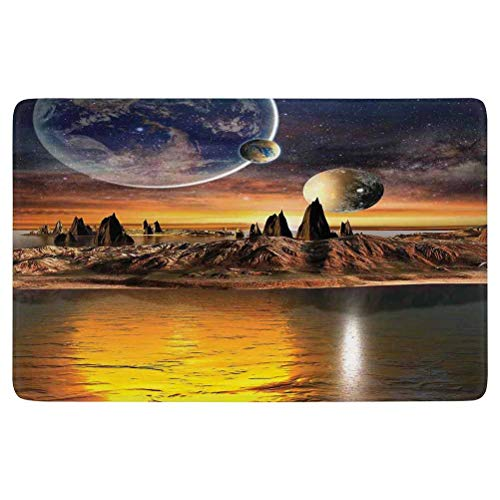 SoSung Fantasy House Decor Area Rug,Alien Planet with Earth Moon and Mountain Fantasy Sci Fi Galactic Future Cosmos Art,for Living Room Bedroom Dining Room,6'x 4',Multi
