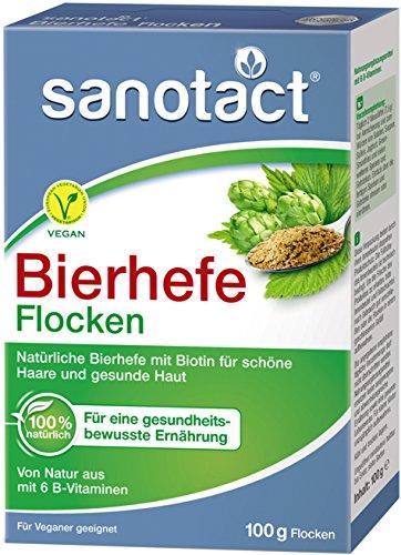 Sanotact Bierhefe natürliche Bierhefeflocken Mit Biotin und 6 B-Vitaminen für Haut Haare Nägel Ideal als veganer Parmesan, zum Kochen, Würzen, etc, 1000 g