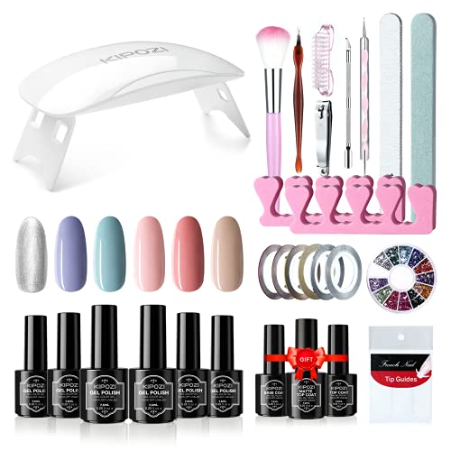KIPOZI Kit de esmalte de uñas en gel de 6 colores con...