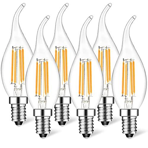 Suncan Pack de 6 bombillas LED con forma de vela E14 para lámpara de araña, E14, reequipamiento Classic, 4 W, 360 lúmenes, gestión de 40 W, 2700 K, no regulable, cristal transparente