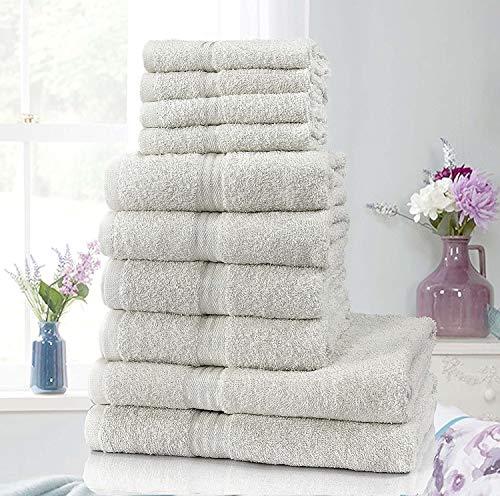 Sunshine Comforts– Hotel-Handtuch-Set, 100% natürliche ägyptische Baumwolle, Waschlappen, Handtuch, Badetuch, 10-teilig