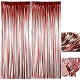 Oro rosa metálico Tinsel Vorhänge, 2 Stück Quaste Lametta Vorhänge, Folie...