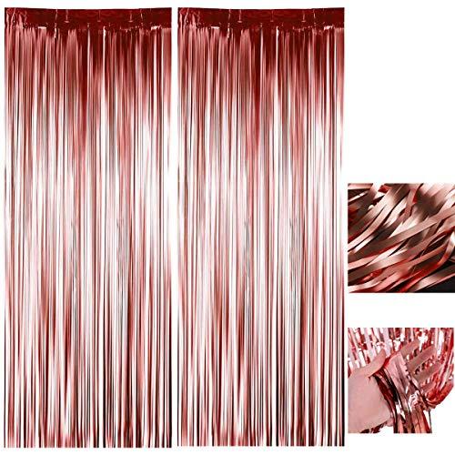 BOYATONG Rose Gold Metallic Tinsel Vorhänge,2 Stück Quaste Lametta Vorhänge,Folie Fringe Shimmer Vorhang Glitzer Deko,Party Hintergrund Fringe Folien,Geburtstag Lametta Vorhänge (1x2.5m)