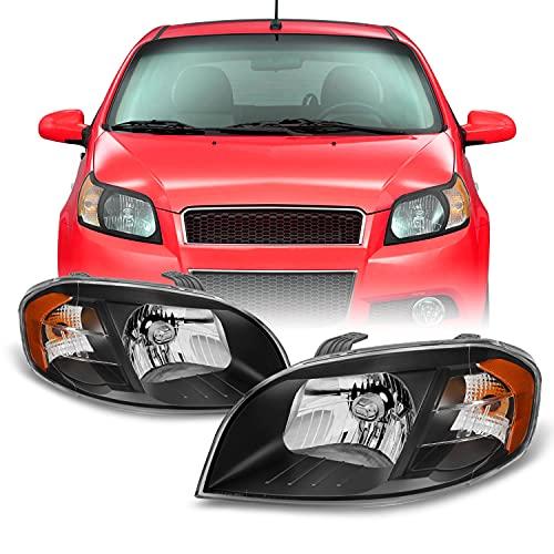 For 2007-2011 Chevy Aveo 2007-2009 Pontiac Wave G3 4 Door Sedan Black Headlights Both Side Assembly