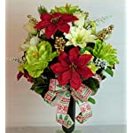 Silk-Florals-Frills-Poinsettia-Cemetery-Arrangement-Poinsettia-Grave-Flowers-Christmas-Cemetery-for-Grave-Vase